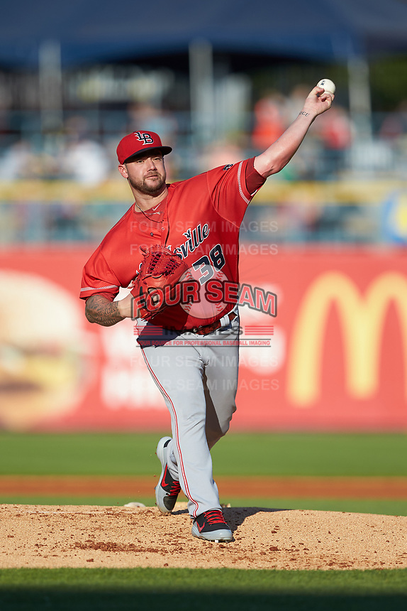 Louisville Bats starting pitcher Brandon Finnegan (38) in action against the Toledo Mud Hens at Fifth Third Field on June 16, 2018 in Toledo, Ohio. The Mud Hens defeated the Bats 7-4.  (Brian Westerholt/Four Seam Images)