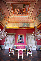 """The second antechamber of Joachim Murat"". The walls have frescoes by Giuseppe Cammarano with a reproduction of the abduction of Helen. the portrait on the wall of Joseph Bonaparte is by Costanzo Angelini.  The Bourbon Kings of Naples Royal Palace of Caserta, Italy."