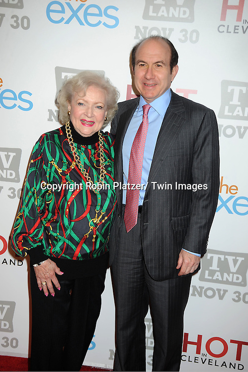 "Betty White and Phillippe Dauman attends the TV Land Party for the  premieres of ""Hot In Cleveland"" and ""The Exes""  on November 29, 2011 at SD26 in New York City. the party also celebrated Toys for Tots."