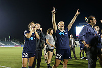 Cary, North Carolina  - Wednesday May 24, 2017: Samantha Witteman and Kristen Hamilton try to distract a teammate on camera after a regular season National Women's Soccer League (NWSL) match between the North Carolina Courage and the Sky Blue FC at Sahlen's Stadium at WakeMed Soccer Park. The Courage won the game 2-0.