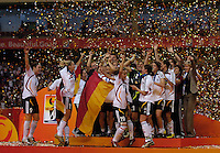 Germany celebrates their World Cup championship victory. Germany (GER) defeated Brazil (BRA) 2-0 in the finals of the 2007 FIFA Women's World Cup. at Shanghai Hongkou Football Stadium in Shanghai, China on September 30, 2007.