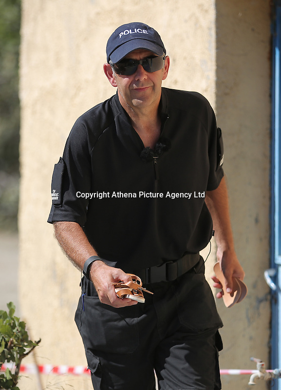 FAO JANET TOMLINSON, DAILY MAIL PICTURE DESK<br /> Pictured: CSI Forensics officer Frank Harkness presents a copy of a pair of sandals similar to those worn by Ben Needham in Kos, Greece. Saturday 01 October 2016<br /> Re: Police teams led by South Yorkshire Police, searching for missing toddler Ben Needham on the Greek island of Kos have moved to a new area in the field they are searching.<br /> Ben, from Sheffield, was 21 months old when he disappeared on 24 July 1991 during a family holiday.<br /> Digging has begun at a new site after a fresh line of inquiry suggested he could have been crushed by a digger.