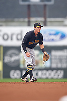 West Virginia Black Bears shortstop Brett Pope (3) during a game against the Batavia Muckdogs on August 7, 2017 at Dwyer Stadium in Batavia, New York.  West Virginia defeated Batavia 6-3.  (Mike Janes/Four Seam Images)