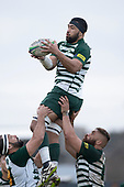 Michael Tafili takes lineout ball for Manurewa. Counties Manukau Premier Club Rugby Semi-final game between Patumahoe and Manurewa, played at Patumahoe on Saturday July 14th 2018. Patumahoe won the game 29 - 28 after trailing 7 - 14 at halftime. <br /> Photo by Richard Spranger.