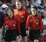 07 December 2007: Referee Karen Swanner (l), Alternate Official Kevin Bowers (center), and Assistant Referee Rachel Woo (r). The Florida State Seminoles defeated the University of Notre Dame Fighting Irish played 3-2 at the Aggie Soccer Stadium in College Station, Texas in a NCAA Division I Womens College Cup semifinal game.