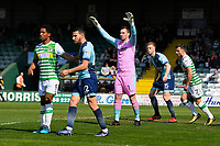 Scott Brown Wycombe Wanderers keeper middle commands his area during Yeovil Town vs Wycombe Wanderers, Sky Bet EFL League 2 Football at Huish Park on 14th April 2018