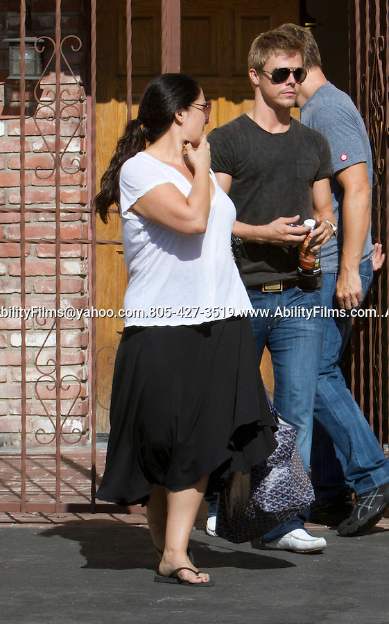 ...September 2nd 2011..Derek Hough hugging Ricki Lake smiling waving carrying a big blue hand bag & $2K designer Givenchy black leather backpack. Ricki was also wearing pink sunglasses & long baggy white shirt & black dress skirt while leaving the Dancing with the Stars dance studio in Los Angeles. Derek was holding a bottle of Muscle Milk & wearing dark blue blockers. ..AbilityFilms@yahoo.com.805-427-3519.www.AbilityFilms.com.
