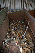 Metal scraps in bin at Recycling Center, Los Angeles, California, USA