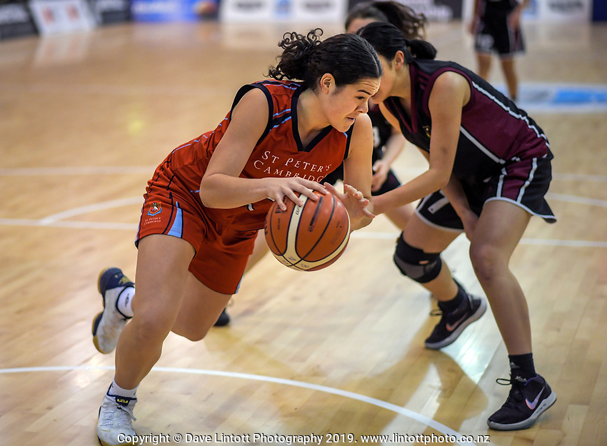 Charlisse Leger-Walker in action during the 2019 Schick AA Girls' Secondary Schools Basketball National Championship final between St Peters School Cambridge and Hamilton Girls' High School at the Central Energy Trust Arena in Palmerston North, New Zealand on Saturday, 5 October 2019. Photo: Dave Lintott / lintottphoto.co.nz