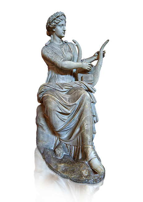 Roman stuate from the time of Hadrian of the muse Tersichore, inv 308, Vatican Museum Rome, Italy,  white background