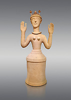 "Minoan Postpalatial terracotta  ""Poppy goddess: statue with raised arms and poppy seed crown,  Karphi Sanctuary 1300-1200 BC, Heraklion Archaeological Museum, grey background. <br /> <br /> The ""Poppy Goddess"" statuye is crowned with opium poppy seed heads. As opium is a hallucinogen that also sedates and has healing properties, experts assume this was the goddess of pain relief and healing/ During this period both Minoan and Mycenaean graves were found in Karphi snctuary so these cult gods are attributable to both cultures"