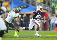 Jan 10, 2011; Glendale, AZ, USA; Auburn Tigers running back (27) Mario Fannin against the Oregon Ducks during the 2011 BCS National Championship game at University of Phoenix Stadium. The Tigers defeated the Ducks 22-19. Mandatory Credit: Mark J. Rebilas-