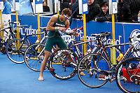 Photo: Richard Lane/Richard Lane Photography. GE Strathclyde Park Triathlon. 22/05/2011. Elite Men race. Chris Hayward in transition.