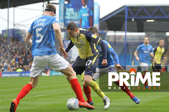 Lee Novak (Scunthorpe United) during the Sky Bet League 1 match between Portsmouth and Scunthorpe United at Fratton Park, Portsmouth, England on 16 March 2019. Photo by James  Gill / PRiME Media Images.