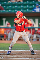 David Clawson (3) of the Orem Owlz bats against the Ogden Raptors at Lindquist Field on August 3, 2018 in Ogden, Utah. The Raptors defeated the Owlz 9-4. (Stephen Smith/Four Seam Images)