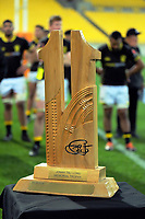 The Jonah Tali Lomu Trophy on display after the Mitre 10 Cup rugby match between Wellington Lions and Counties Manukau Steelers at Westpac Stadium in Wellington, New Zealand on Wednesday, 29 August 2019. Photo: Dave Lintott / lintottphoto.co.nz
