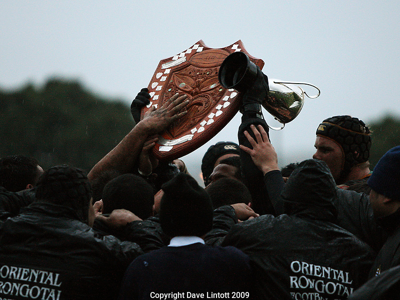 Ories hold the Swindale Shield aloft after the win..Wellington Club Rugby - Swindale Shield, Poneke v Oriental-Rongotai at Kilbirnie Park, Wellington, Saturday, 23 May 2009. Photo: Dave Lintott/lintottphoto.co.nz