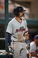 Fort Myers Miracle shortstop Royce Lewis (4) on deck during a game against the Lakeland Flying Tigers on August 7, 2018 at Publix Field at Joker Marchant Stadium in Lakeland, Florida.  Fort Myers defeated Lakeland 5-0.  (Mike Janes/Four Seam Images)