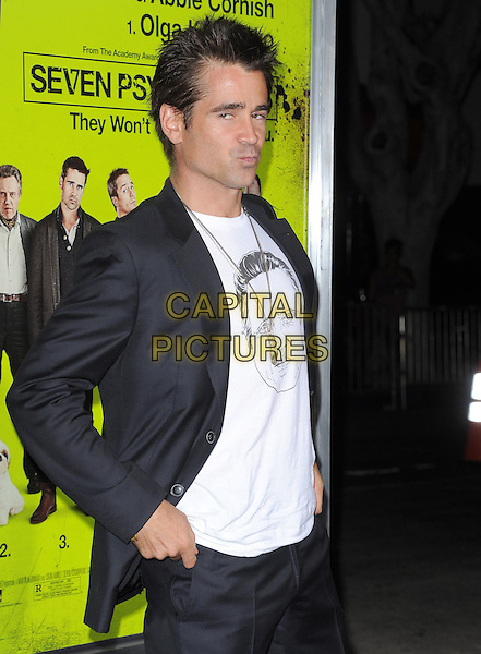 Colin Farrell.The L.A. Premiere of 'Seven Psychopaths' Premiere held at The Bruin Theatre in Westwood, California, USA..October 1st, 2012 .half length black suit jacket white top Christopher Walken face print lips puckering funny side .CAP/RKE/DVS.©DVS/RockinExposures/Capital Pictures.