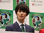 September 3, 2018, Tokyo, Japan - Japanese actor Masaki Okada attends a presentation event of the renewed mint tablet Clorets in Tokyo on Monday, September 3, 2018. A green tea polyphenol which has antibacterial properties was added to the new Clorets last month.            (Photo by Yoshio Tsunoda/AFLO) LWX -ytd-