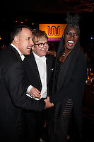 David Furnish, Elton John and Grace Jones at Elton John's White Tie and Tiara Ball