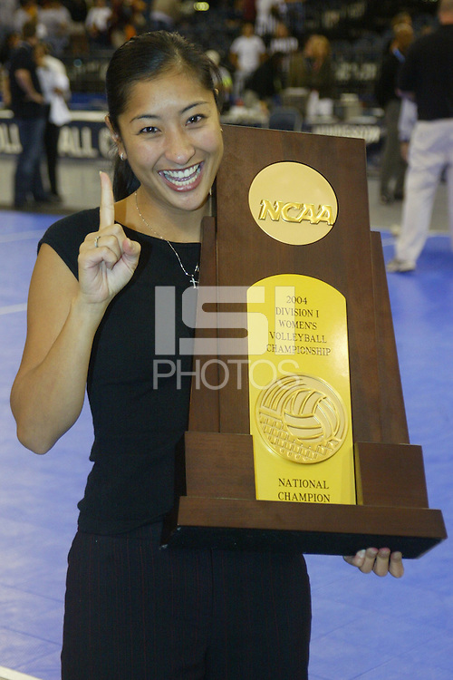 18 December 2004: Kobi Shojii during Stanford's  30-23, 30-27, 30-21 victory over Minnesota in the 2004 NCAA Women's Volleyball National Championships in Long Beach, CA. Stanford won their sixth women's volleyball title in school history.