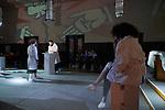 """Germany, Berlin, 2018/04/22<br /> <br /> <br /> Generalprobe des Theaterstücks """"OPDAKH"""" im ehemaligen Gebetssall des Jüdischen Waisenhauses Berlin Pankow. <br /> <br /> Ein Stück Zeitgeschichte spricht zu uns: Das Theaterkollektiv OfW, das heißt: """"Ohne festen Wohnsitz"""", spürt Erinnerungen auf. Und zwar im Ehemaligen Jüdischen Waisenhaus. Das Haus in der Berliner Straße 120-121 hat eine bewegte Geschichte: 1913 erbaut als Waisenhaus für jüdische Kinder, in dem diese zu arbeitsamen Menschen erzogen werden sollten, diente es während des Zweiten Weltkrieges der SS als Sichtvermerkstelle und wurde dann in der DDR zunächst von Polen, dann von Kuba als Botschaft genutzt. In dem Stück spüren vier ambitionierte Forscher mit einer bisher kaum bekannten Methode die in den Mauern gespeicherten Erinnerungen auf – immer auf der Suche nach einer Antwort auf die Frage, was Minderheiten sind und wie die Gesellschaft mit ihnen umgeht. <br /> (Photo by Gregor Zielke)"""