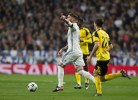 Real Madrid's Spanish defense Sergio Ramos during the UEFA Champions League match between Real Madrid and Borussia Dortmund at the Santiago Bernabeu Stadium in Madrid, Tuesday, December 7, 2016.
