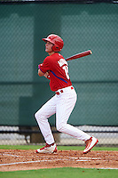 GCL Phillies center fielder Mickey Moniak (15) at bat during a game against the GCL Braves on August 3, 2016 at the Carpenter Complex in Clearwater, Florida.  GCL Phillies defeated the GCL Braves 4-3 in a six inning rain shortened game.  (Mike Janes/Four Seam Images)