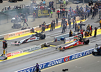 Jul 29, 2018; Sonoma, CA, USA; NHRA top fuel driver Doug Kalitta (right) alongside Steve Torrence during the Sonoma Nationals at Sonoma Raceway. Mandatory Credit: Mark J. Rebilas-USA TODAY Sports