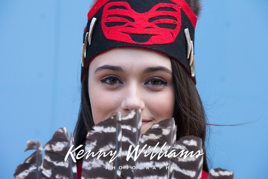 Portrait of beautiful Native American woman, Tlingit Tribe of Southeast Alaska, Northwest Folklife Festival 2016, Seattle Center, WA, USA.