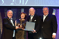 Rosemary Kelly, Banbridge Musical Society, County Down who were 3rd Overall Winners in the Sullivan Section for the show 'Little Shop of Horrors' receiving the trophy from on left, Colm Moules, President, AIMS and Seamus Power, Vice-President at the Association of Irish Musical Societies annual awards in the INEC, KIllarney at the weekend. Also in photo is AIMS adjudicator Greg Currid.<br /> Photo: Don MacMonagle -macmonagle.com<br /> <br /> <br /> <br /> repro free photo from AIMS<br /> Further Information:<br /> Kate Furlong AIMS PRO kate.furlong84@gmail.com