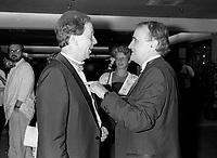 FILE PHOTO -  Andre Vallerand et Serge Losique au<br /> <br /> party de cloture du Festival des Films du Monde, le 1er septembre 1986.<br /> <br /> PHOTO : Pierre Roussel<br />  - Agence Quebec Presse