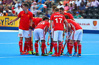 England players at the start of the match during the Hockey World League Semi-Final match between England and Argentina at the Olympic Park, London, England on 18 June 2017. Photo by Steve McCarthy.
