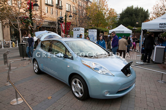 Display Of Fully Electric Nissan Leaf Car. Nissan Leaf Zero Emission Tour  Promotional Event For