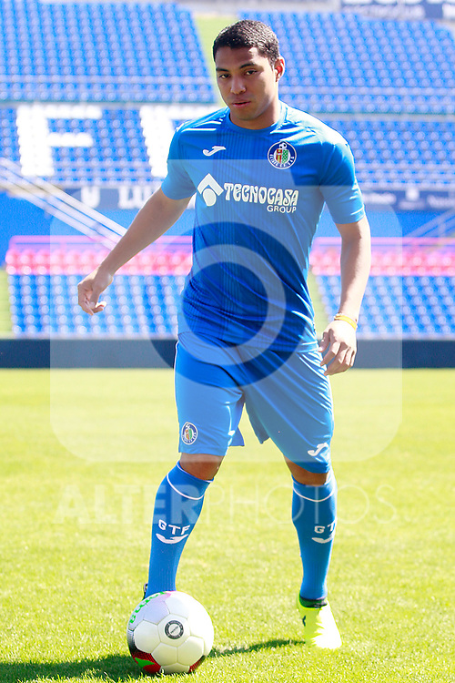 Getafe CF's new player Jefferson Montero during his official presentation.  September 5, 2017. (ALTERPHOTOS/Acero)
