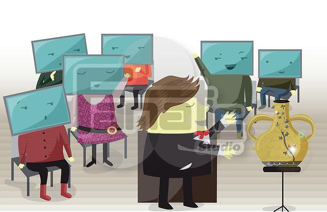 Illustration of businesspeople bidding online