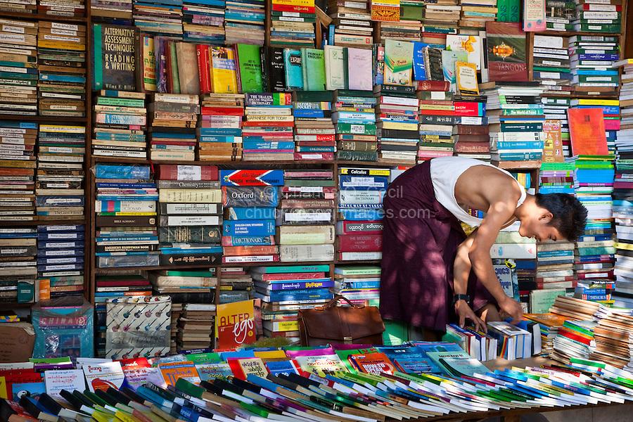 Myanmar, Burma, Yangon.  Used Book Store.