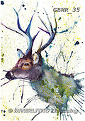 Simon, REALISTIC ANIMALS, REALISTISCHE TIERE, ANIMALES REALISTICOS, paintings+++++KatherineW_SplatterStag,GBWR35,#a#, EVERYDAY