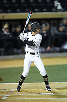 Patrick Frick (5) of the Wake Forest Demon Deacons at bat against the Florida State Seminoles at David F. Couch Ballpark on March 9, 2018 in  Winston-Salem, North Carolina.  The Seminoles defeated the Demon Deacons 7-3.  (Brian Westerholt/Four Seam Images)
