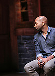 """Brandon Victor Dixon during the Q & A for The Rockefeller Foundation and The Gilder Lehrman Institute of American History sponsored High School student #EduHam matinee performance of """"Hamilton"""" at the Richard Rodgers Theatre on 3/15/2017 in New York City."""