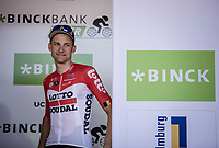 Tim Wellens (BEL/Lotto Soudal) on podium after ending up 3th place in the GC. <br /> <br /> Binckbank Tour 2018 (UCI World Tour)<br /> Stage 7: Lac de l'eau d'heure (BE) - Geraardsbergen (BE) 212.7km