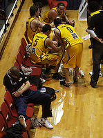 Injured Dynamos import Eric Vierneisel sits to one side during a time out during the NBL Round 9 match between the Wellington Saints and Nelson Giants at TSB Bank Arena, Wellington, New Zealand on Thursday 7 May 2009. Photo: Dave Lintott / lintottphoto.co.nz
