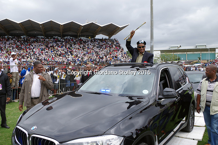 DURBAN - 12 June 2016 - Mangosuthu Buthelezi, the octogenarian leader of South Africa's Inkatha Freedom Party waves to supporters as he arrives at a rally in Durban's King Zwelithini Sadium where the party's local government election manifesto was launched. The country's voters go to the polls on August 3 to elect the councillors who will serve them in the more than 200 municipalities. - Picture: Allied Picture Press/APP