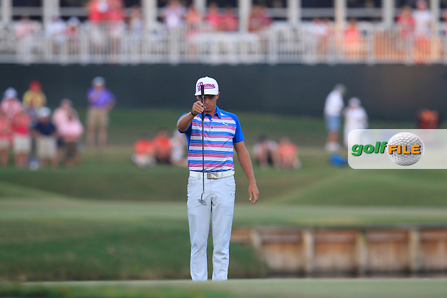 Rickie FOWLER (USA) on the 17th green 4 extra playoff hole during the final round at The Players, TPC Sawgrass, Ponte Vedra Beach, Florida, United States. 10/05/2015<br /> Picture Fran Caffrey, www.golffile.ie
