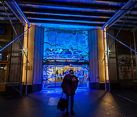 Workers enter and leave the Google offices through a decorated entrance in New York on Tuesday, January 24, 2017. (© Richard B. Levine)