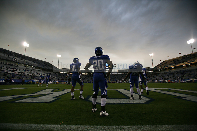 The UK football team warms up before the game against Mississippi State at Commonwealth Stadium on Saturday, Oct. 31, 2009. Photo by Adam Wolffbrandt | Staff