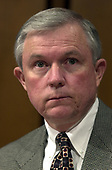 United States Senator Jeff Sessions (Republican of Alabama) listens as Robert S. Mueller, III testifies before the US Senate Committee on the Judiciary to be confirmed as the Director of the Federal Bureau of Investigation (FBI) on Capitol Hill in Washington, DC on July 30, 2001. If confirmed, Mueller will succeed Louis J. Freeh.<br /> Credit: Ron Sachs / CNP