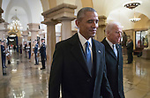United States President Barack Obama and US Vice President Joe Biden walk through the Crypt of the Capitol in Washington, Friday, Jan. 20, 2017, for Donald Trump's inauguration ceremony. <br /> Credit: J. Scott Applewhite / Pool via CNP