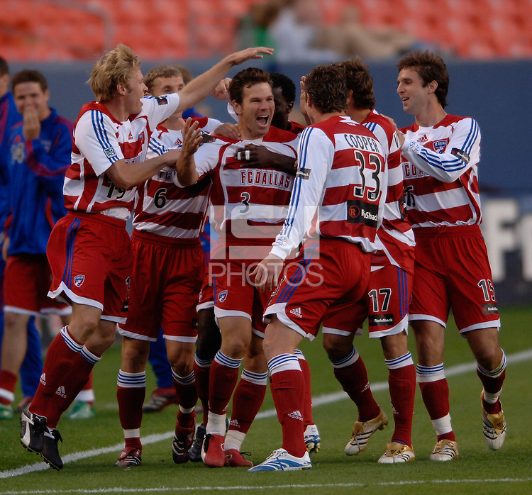 FC Dallas defender Greg Vanney celebrates with teammates after scoring the first goal of the game. The Colorado Rapids and FC Dallas played to a 2-2 draw at Invesco Field at Mile High Stadium in Denver, CO, April 15, 2006.